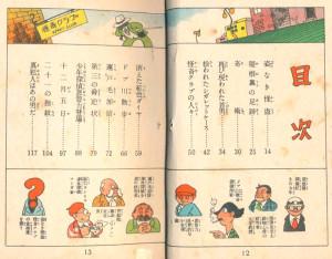 「21の指紋」もくじページ。下段の登場人物紹介の欄に「辰巳ヨシヒロ・赤本探偵マンガ家」というキャラクターが。