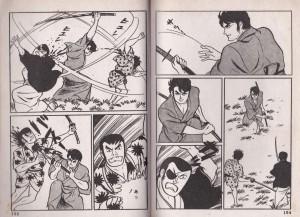 日本無頼帖第二話「悪名一代」より。佐藤まさあき作品といえば拳銃アクションというイメージが強い。殺陣シーンは新鮮な印象だ。